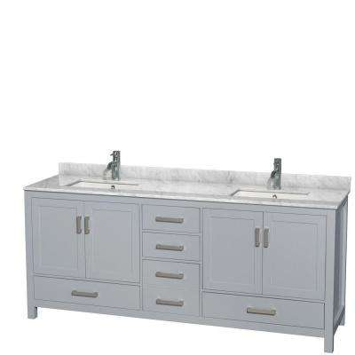 Sheffield 80 in. W x 22 in. D Vanity in Gray with Marble Vanity Top in Carrara White with White Basins