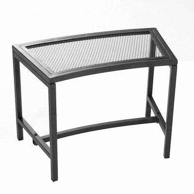 23 in. x 16 in. Black Metal Mesh Fire Pit Outdoor Bench