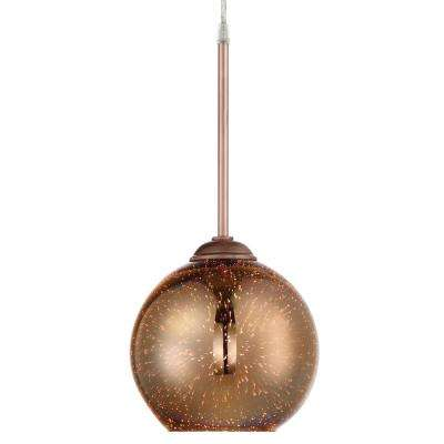 Rogue Decor Spacey 1-Light 6.8 in. Copper with 3D Iridescent Optic Space Glass Mini Pendant