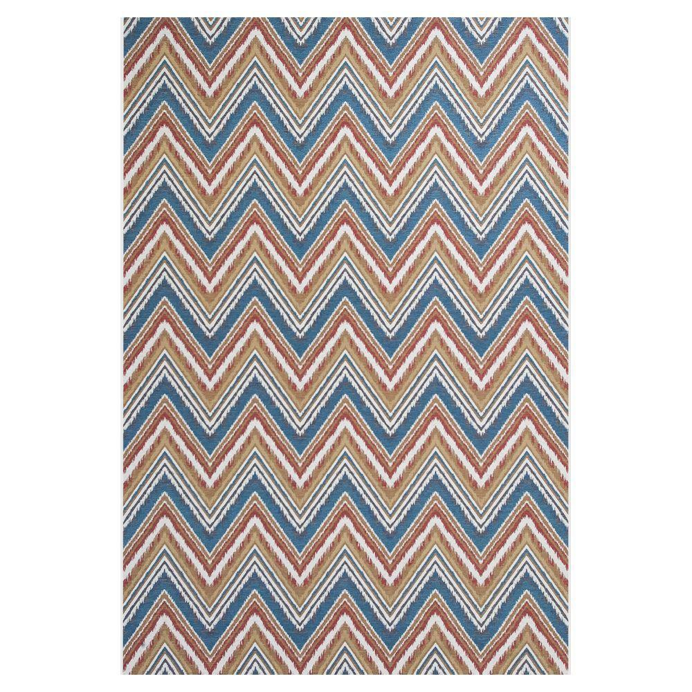 Kas Rugs Chevron Multi/Blue 5 ft. 3 in. x 7 ft. 7 in. All-Weather Patio Area Rug