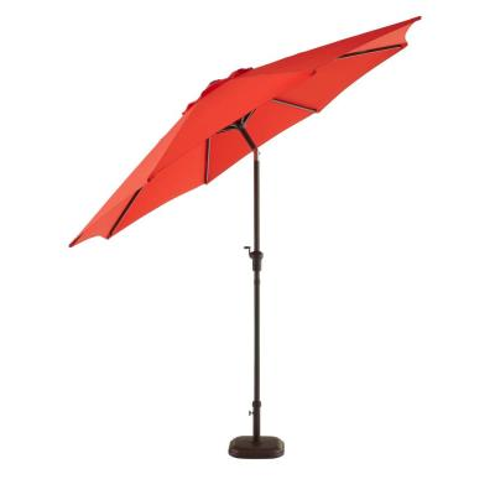 9 ft. Riverbrook Steel Espresso Brown Market Crank and Tilt Outdoor Patio Umbrella in Ruby Red