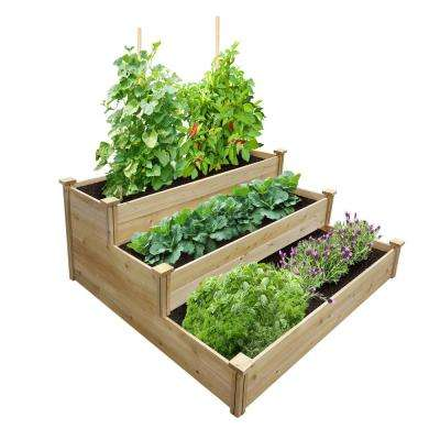 4 ft. x 4 ft. x 21 in. Unfinished (0.5 in. to 0.625 in. T) 3-Tiered Value Cedar Raised Garden Bed
