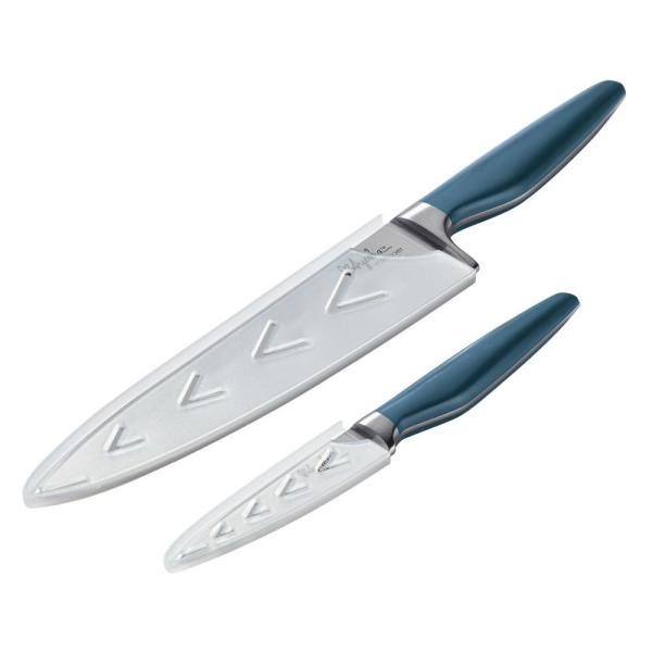 Ayesha Curry Home Collection Japanese 2-Piece Twilight Teal Steel Cooking Knife Set