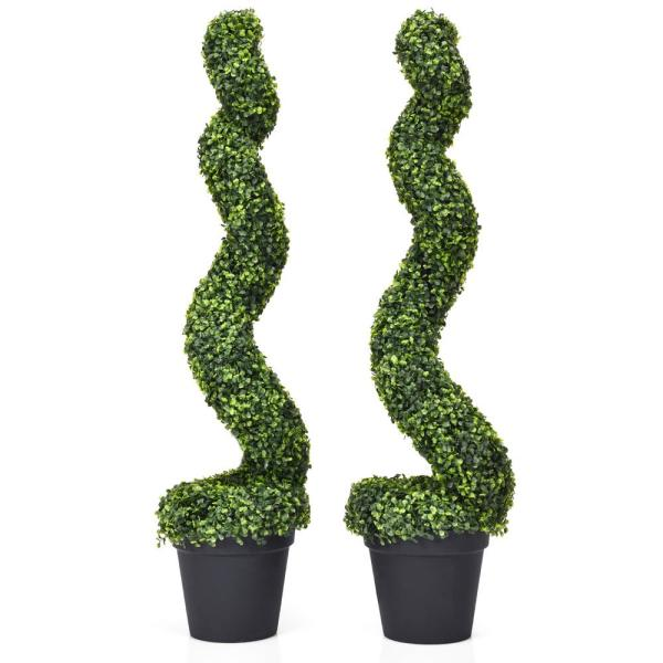 Indoor/Outdoor Artificial Spiral Topiary Tree Office Garden Patio Decoration (Set of 2)