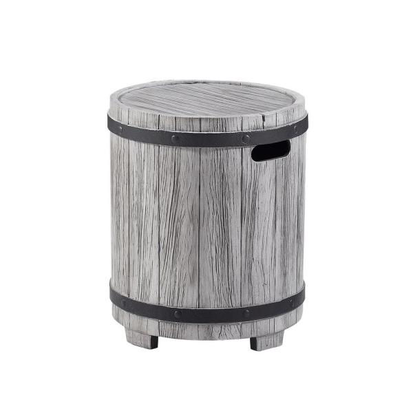 Barlo Distressed Grey Stone Outdoor Side Table