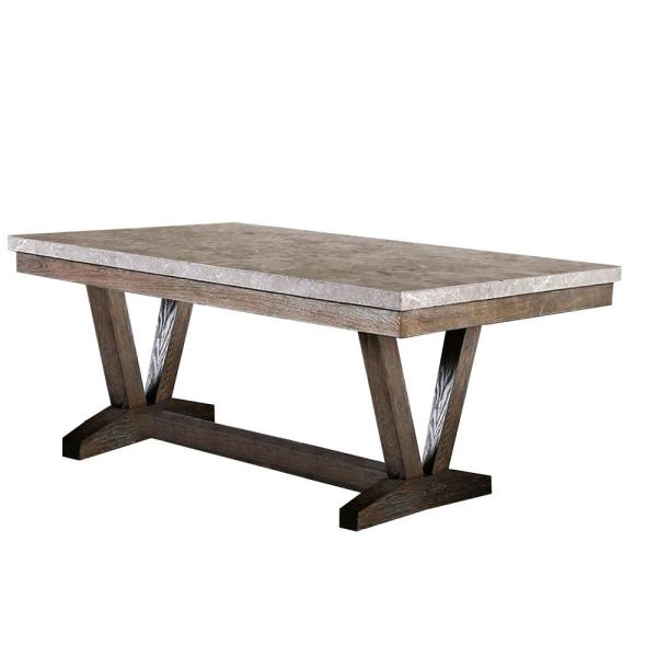 Benjara Transitional Style 30 5 In H Brown And Gray Solid Wood Dining Table With Marble Top Bm188362 The Home Depot