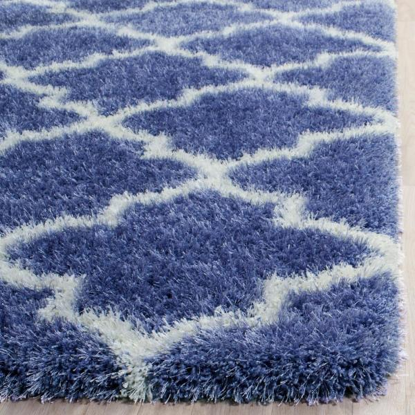 Safavieh Montreal Shag Periwinkle Ivory 8 Ft X 10 Ft Area Rug Sgm832p 8 The Home Depot