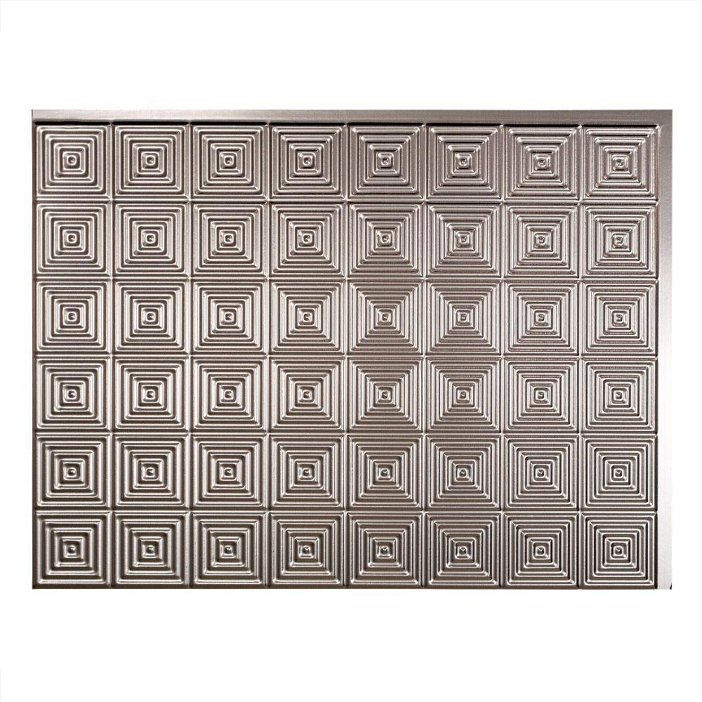Miniquattro 18 in. x 24 in. Brushed Nickel Vinyl Decorative Wall Tile Backsplash 18 sq. ft. Kit