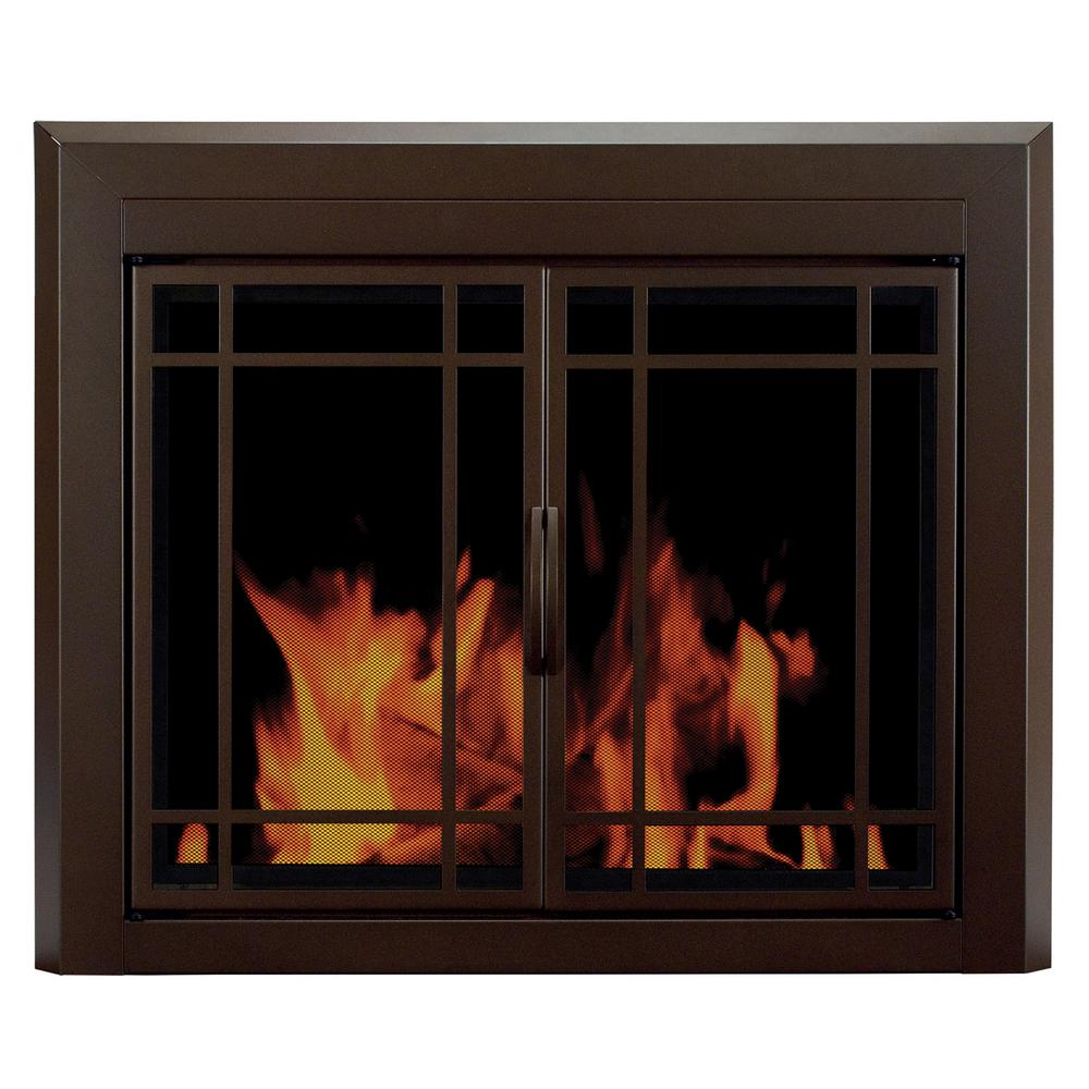 Fireplace Hearth Rug Lowes: Pleasant Hearth Enfield Small Glass Fireplace Doors-EN