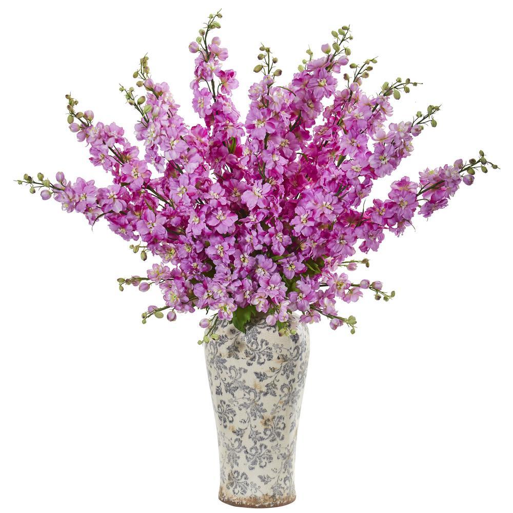 Nearly Natural Indoor 38 Delphinium Artificial Arrangement in Decorative Vase