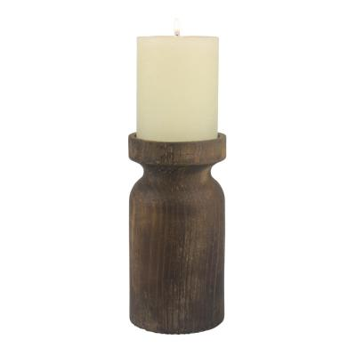 7 in. Brown Rustic Wood and Metal Pillar Candle Holder