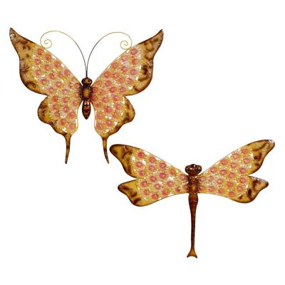 """25"""" and 27"""" Inch Multicolored Butterfly And Dragonfly Metal Garden Statues, Set Of 2"""