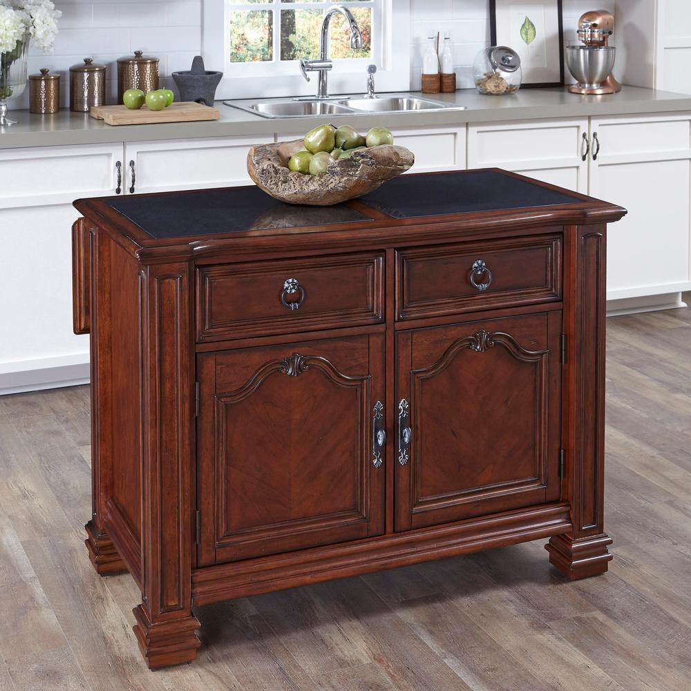 Santiago Cognac Kitchen Island With Granite Top