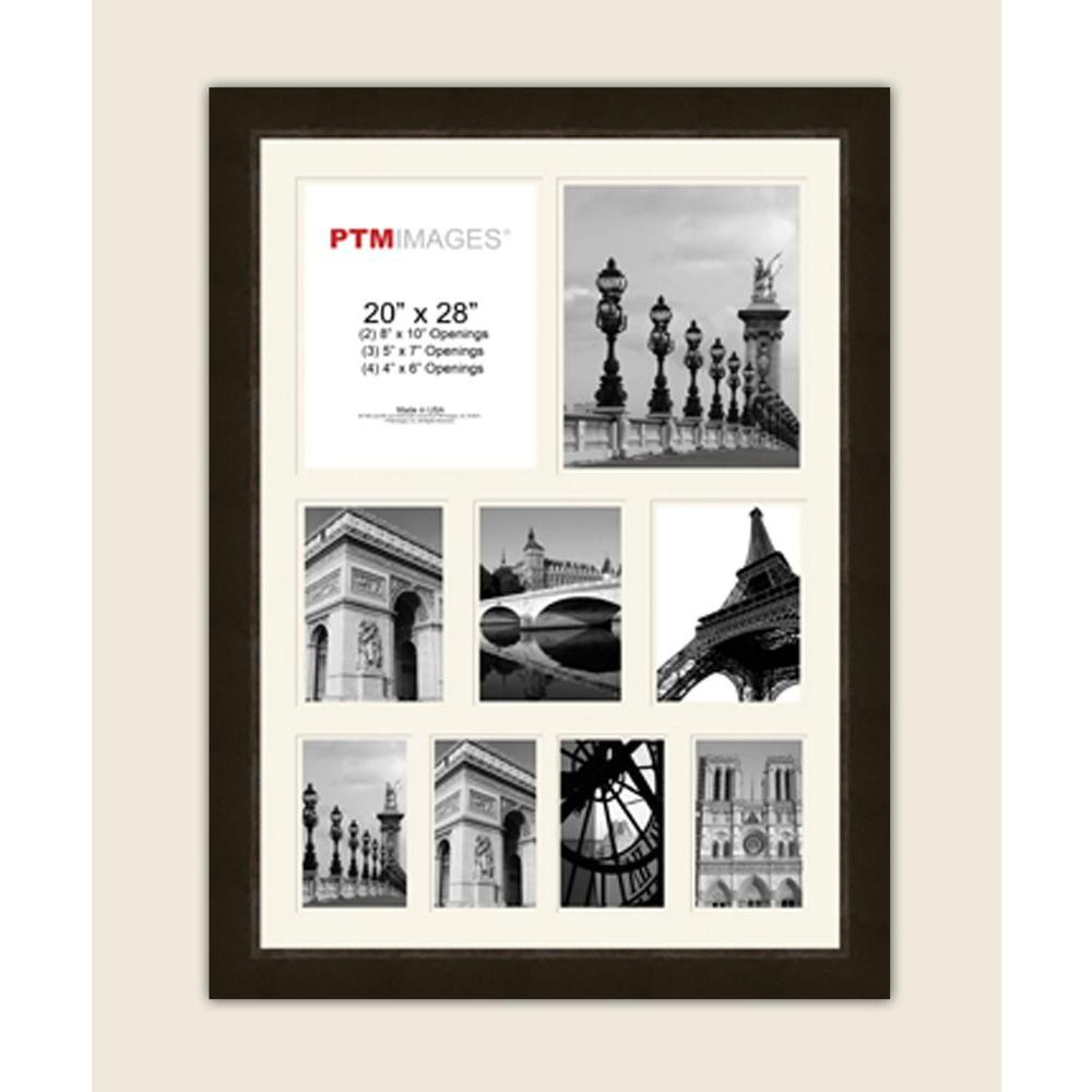 PTM Images 9-Opening 23-1/2 in. x 31-1/2 in. Multi-sized White Matted Espresso Photo Collage Frame