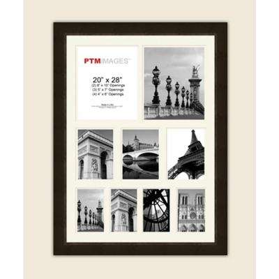 9-Opening 23-1/2 in. x 31-1/2 in. Multi-sized White Matted Espresso Photo Collage Frame