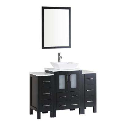 48 in. Single Vanity in Espresso with Vanity Top in White in White with White Basin and Mirror