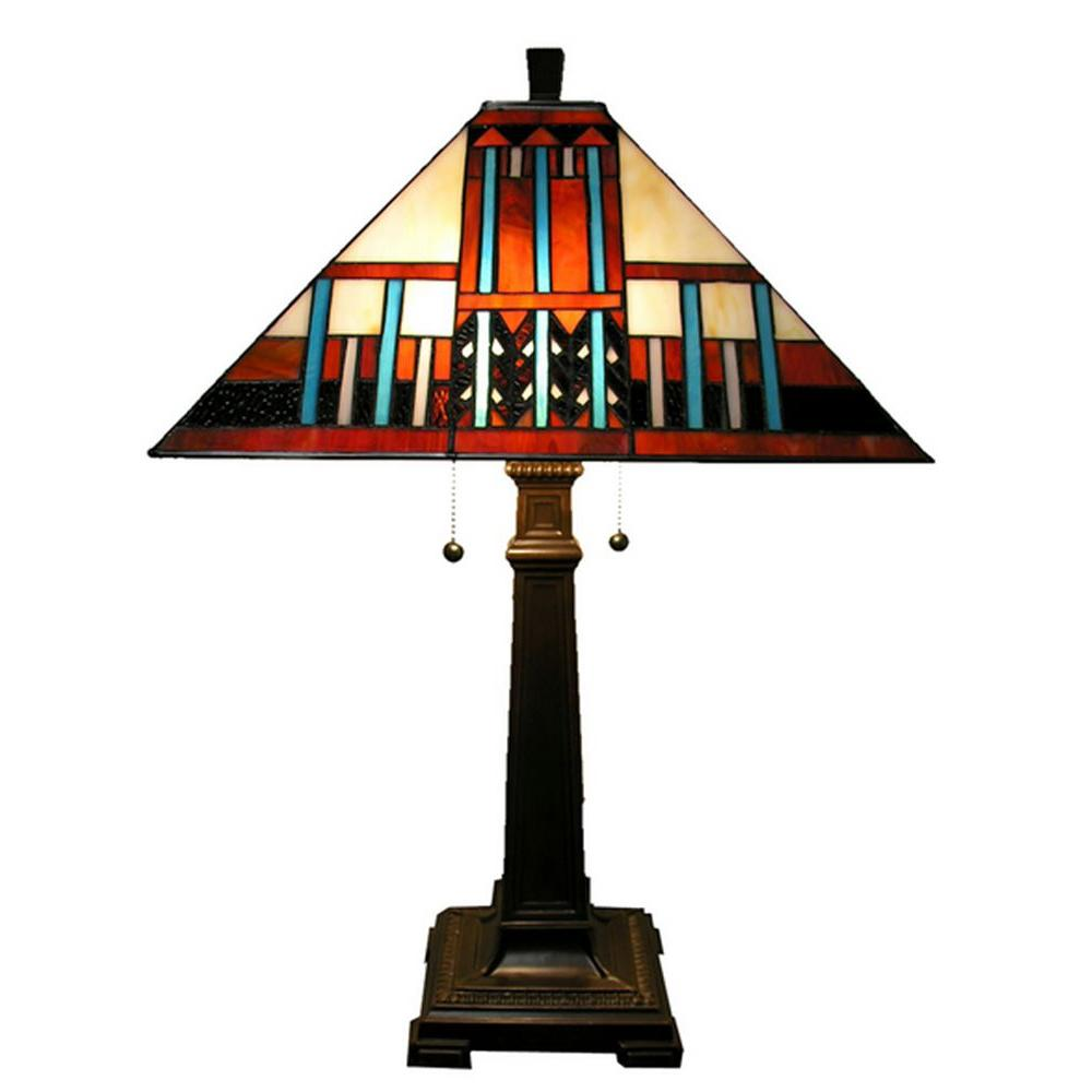 Warehouse Of Tiffany 23 In. Stained Glass Antique Bronze Table Lamp With  Metal Base