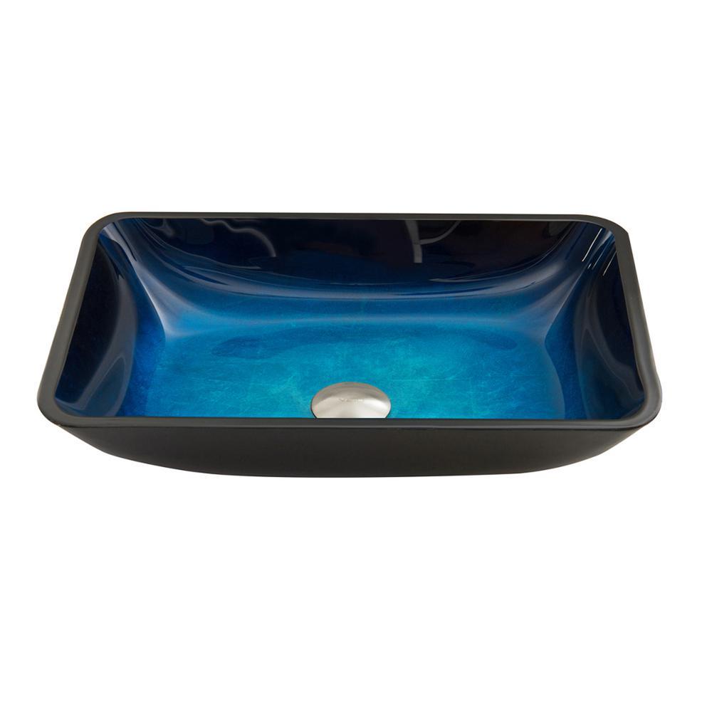 Vigo Glass Vessel Sink In Rectangular Turquoise Water