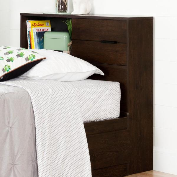 South Shore Fynn Brown Oak Twin Kids Headboard 10534