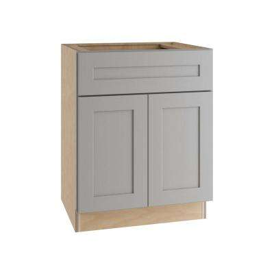 Tremont Assembled 27x34.5x24 in. Base Cabinet with 2 Rollout Trays 1 Soft Close Drawer 2 Soft Close Doors in Pearl Gray