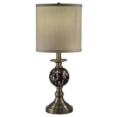 21.25 in. Dunford Antique Brass Mosaic and Metal Table Lamp with Fabric Shade