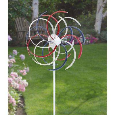Solar 68 in. Patriotic Dual Kinetic Windmill Stake