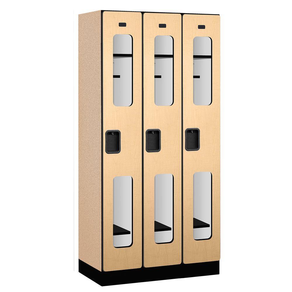 S-31000 Series 36 in. W x 76 in. H x 18 in. D Single Tier See-Through Designer Wood Locker in Maple