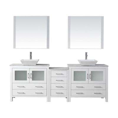 Dior 91 in. W Bath Vanity in White with Marble Vanity Top in White with Square Basin and Mirror and Faucet