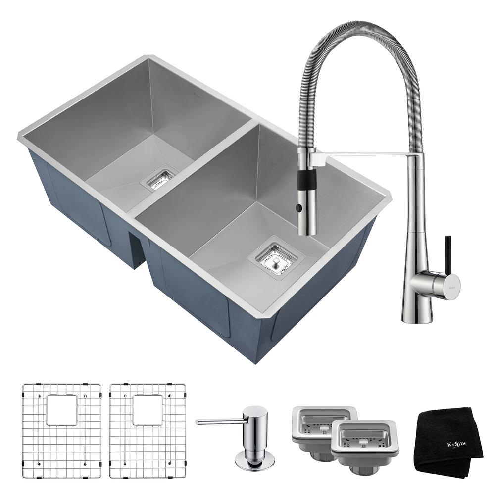 kraus pax zero radius all in one undermount stainless steel 32 in 50 50 bowl kitchen