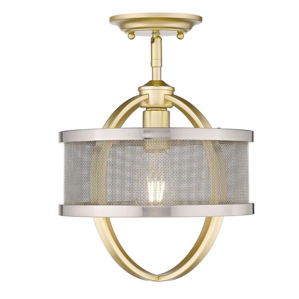 Colson 10.875 in. 1-Light Olympic Gold Semi-Flush Mount