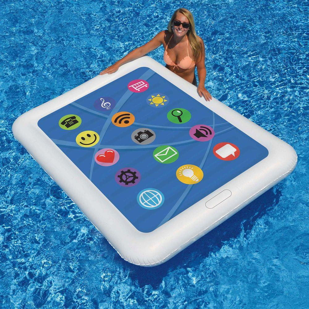 Swimline smart tablet float 67 in x 50 in floating pool for Pool floats design raises questions