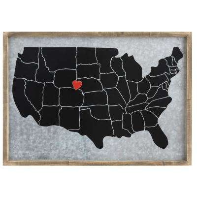 23-1/8 in. L Pine and Steel Memo Board w Heart Magnet