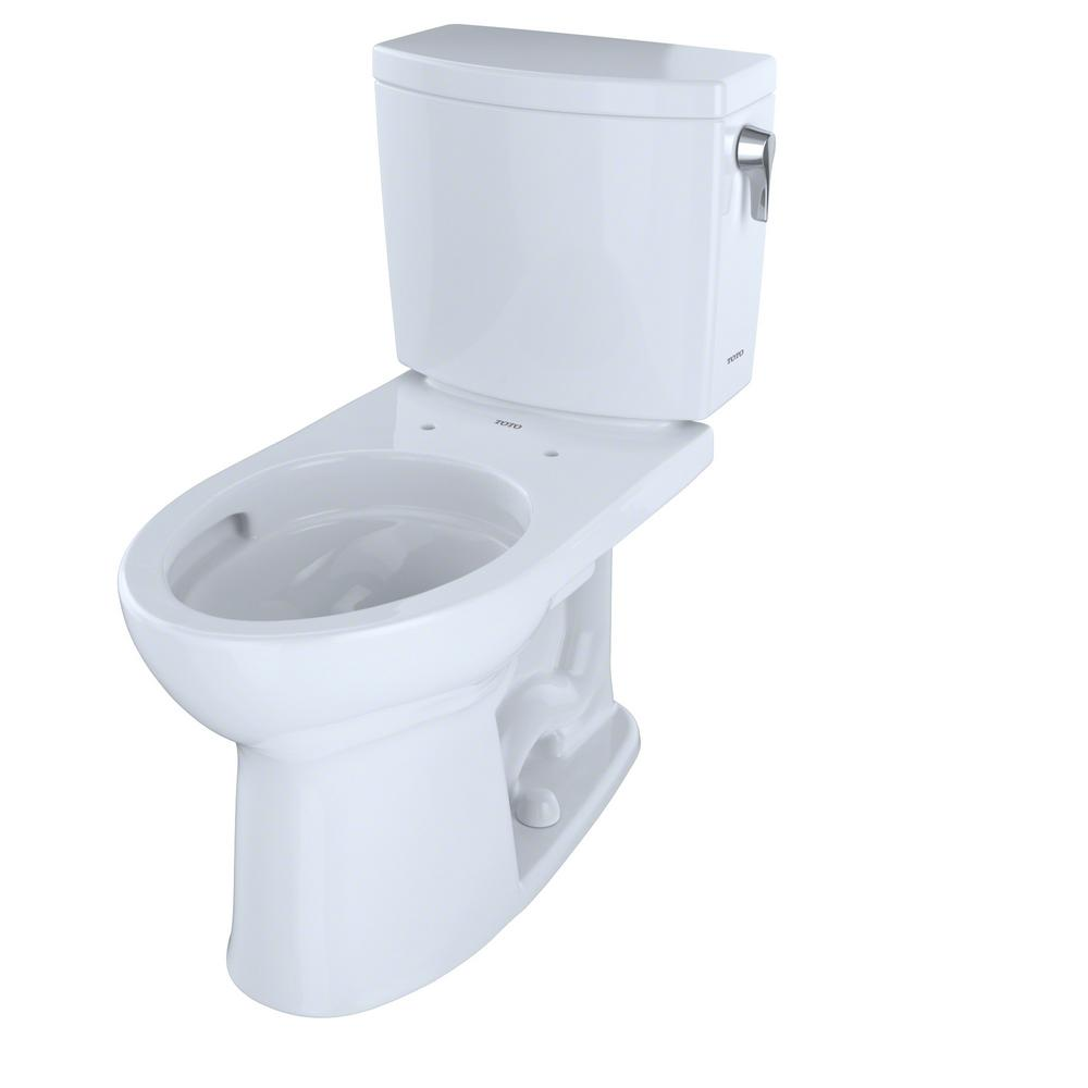 TOTO Drake II 2-Piece 1.0 GPF Single Flush Elongated Toilet with CeFiONtect and Right Hand Trip Lever in Cotton White