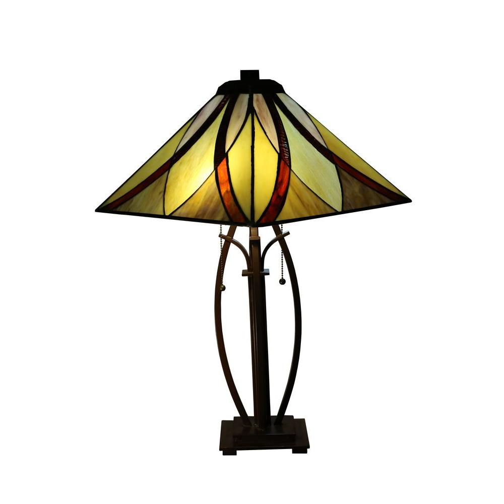 Sheen 26 in 2 light bronze indoor table lamp with multi color 2 light bronze indoor table lamp with multi color tiffany aloadofball Choice Image