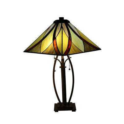 Sheen 26 in. 2-Light Bronze Indoor Table Lamp with Multi-Color Tiffany-Style Shade
