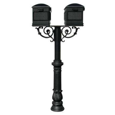 Hanford Twin Non-Locking Mailbox Post System with Scroll Supports, Ornate Base and 2-Lewiston Mailboxes