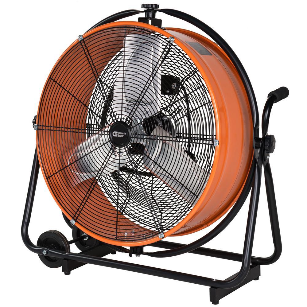 COMMERCIALELECTRIC Commercial Electric 24 in. Heavy Duty Direct Drive Orbital Drum Fan, Orange/Powder coating
