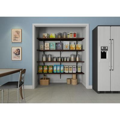 16 in. D x 72 in. W x 84 in. H Espresso Solid Wood Wall Mount Pantry Closet Kit