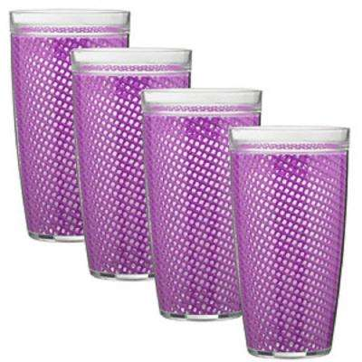 Fishnet 22 oz. Purple Insulated Drinkware (Set of 4)