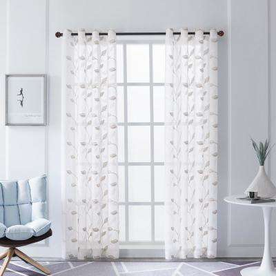 Clarita Beige Polyester Sheer Embroidery Curtain - 95 in. L x 54 in. W