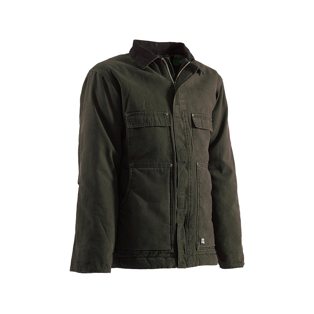 Berne Men's 3 XL Tall Olive Duck 100% Cotton Original Washed Chore Coat