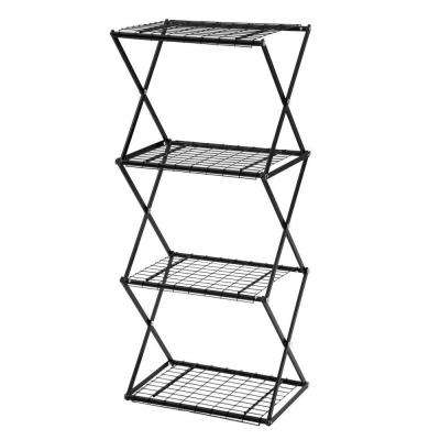 Exy 4-Tier Small Powder-Coated Steel Tube Shelving in Black