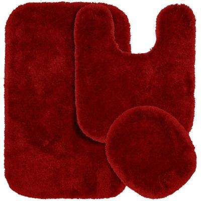 Finest Luxury Chili Pepper Red 21 in. x 34 in. Washable Bathroom 3-Piece Rug Set