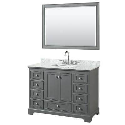 48 in. W x 22 in. D Vanity in Dark Gray with Marble Vanity Top in Carrara White with White Basin and 46 in. Mirror