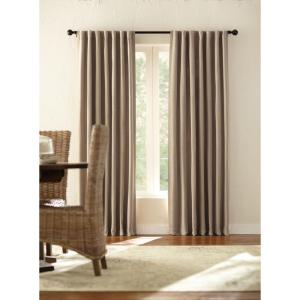Semi-Opaque Taupe Velvet Lined Back Tab Curtain - 50 in. W x 95 in. L