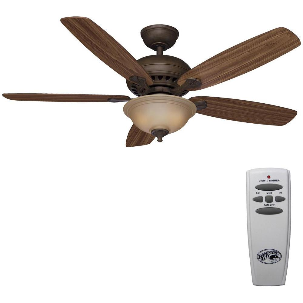 Hampton Bay Southwind 52 in. LED Indoor Venetian Bronze Ceiling Fan with Light Kit and Remote Control