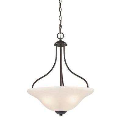Titan Lighting Conway 3 Light Oil Rubbed Bronze Large Pendant Tn 60018 The Home Depot