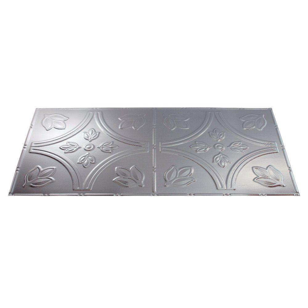 Fasade Traditional 5 2 ft. x 4 ft. Brushed Aluminum Lay-in Ceiling Tile