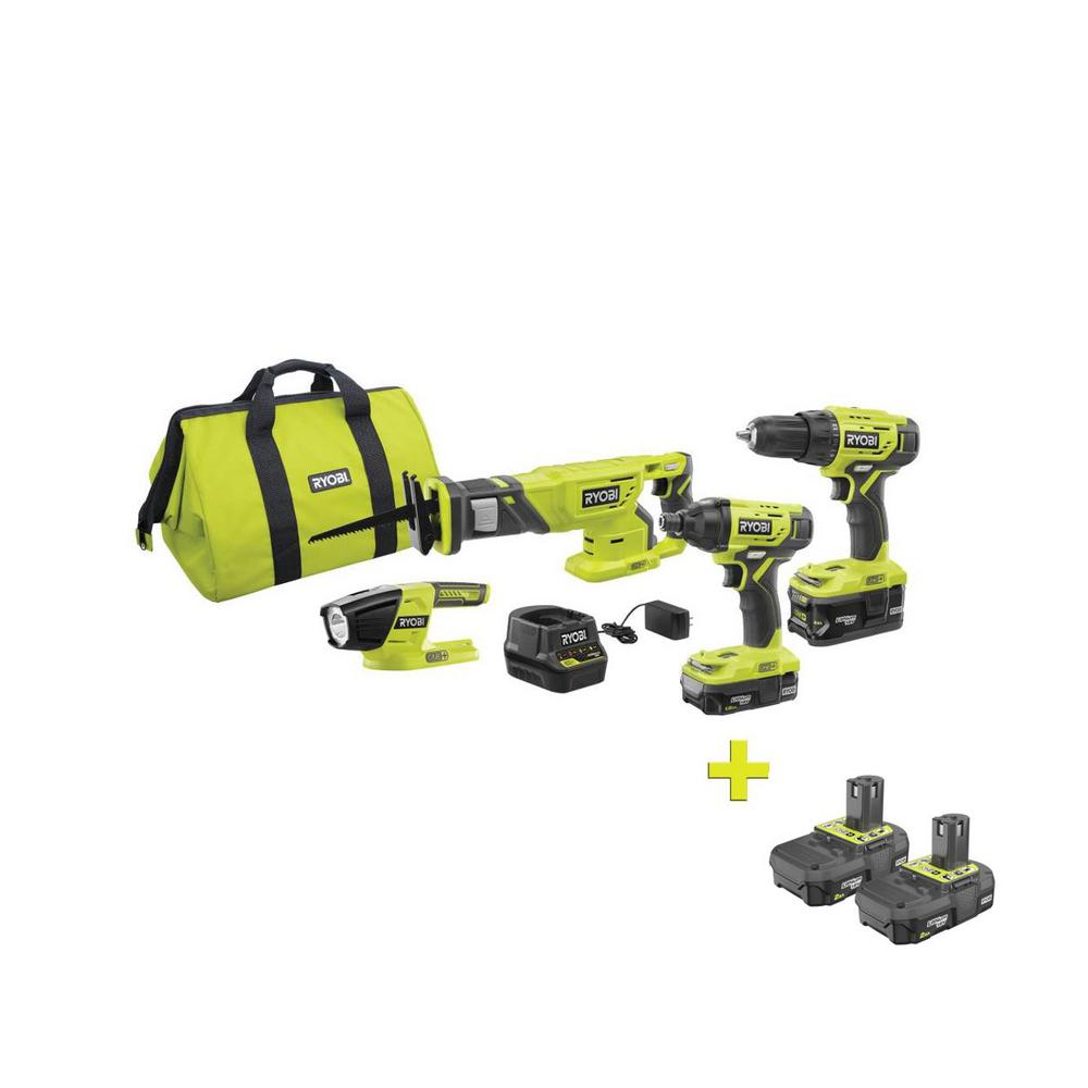 RYOBI 18-Volt ONE+ Lithium-ion Cordless 4-Tool Combo Kit with Bonus 18-Volt ONE+ 2.0 Ah Lithium-Ion Compact Battery (2-Pack)