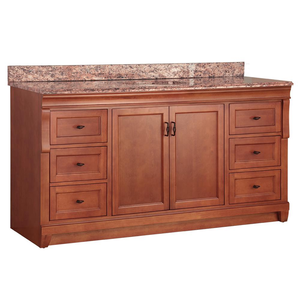 Home Decorators Collection Naples 61 in. W x 22 in. D Bath Vanity in Warm Cinnamon with Stone Effects Vanity Top in Santa Cecilia